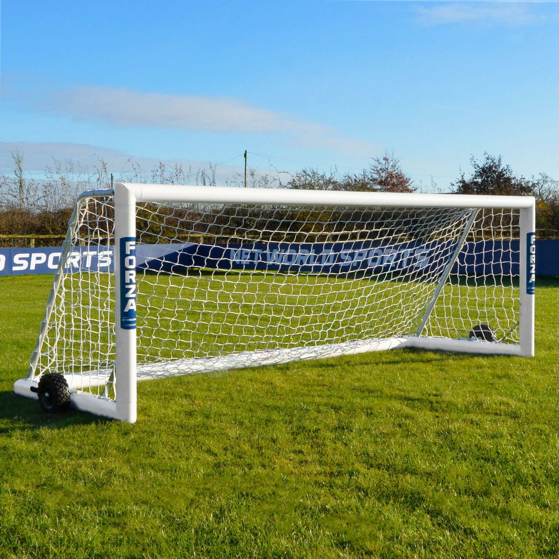 12 x 4 FORZA Alu110 Freestanding Soccer Goal Net World Sports